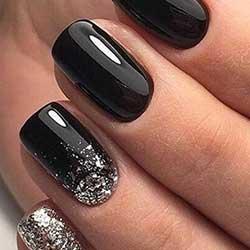 Uñas negras con purpurina